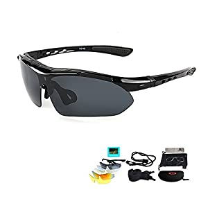 XQ Polarized Sports Sunglasses Eyewear for Adult, With 5 Interchangeable Lenses (Black)