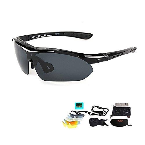 VILISUN Polarized Sports Sunglasses Eyewear for Adult, With 5 Interchangeable Lenses - Sunglasses Polarized Eclipse