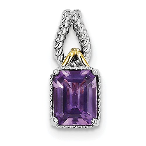 Diamond2Deal 925 Sterling Silver Rhodium Plated Emerald-cut Amethyst Diamond Pendant