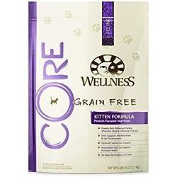 Wellness CORE Natural Dry Grain Free Kitten Food, Turkey, Whitefish & Chicken, 5.9-Pound Bag