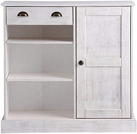 White 2 Door Shoe Storage Cabinet Sideboard Cupboard Wooden Furniture Unit 2Tier