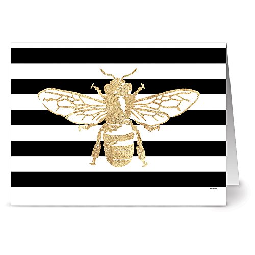 (24 Note Cards - Bold Bee Drone - Blank Cards - Kraft Envelopes Included)