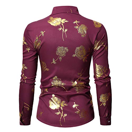 NUWFOR Fashion Men's Long Sleeve Painting Large Size Casual Top Blouse Shirts(Red,XL US Chest:48.82'' by NUWFOR (Image #1)