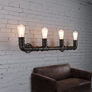 QIANG Industrial Style 27Inches Wide 4 Light Large Pipe Wall Sconce