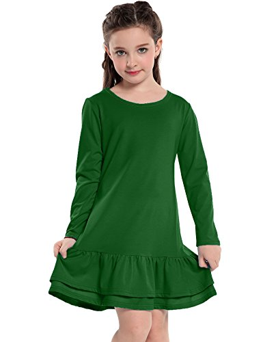 Arshiner Girls Cotton Long Sleeve A-Line Ruffle Hem Dress for School, Green, 150(Age for (Girls Drop Waist Dress)