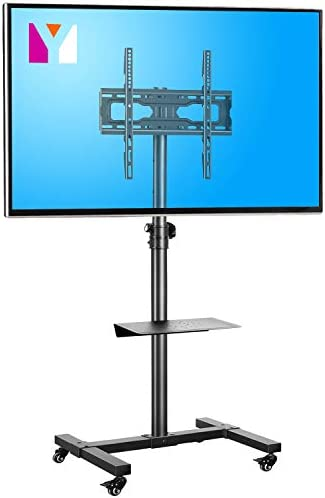 Mobile TV Cart Rolling Floor Stand with Mount on Lockable Wheels Height Adjustable Shelf Trolley for 23-55 inch Flat or Curved Screen TVs Display Stand,Black
