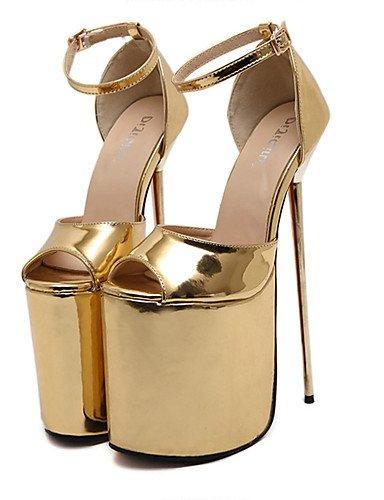 GGX/ Damen-High Heels-Kleid / Party & Festivität-Lackleder-Stöckelabsatz-Absätze / Zehenfrei / Plateau-Silber / Gold silver-us8 / eu39 / uk6 / cn39