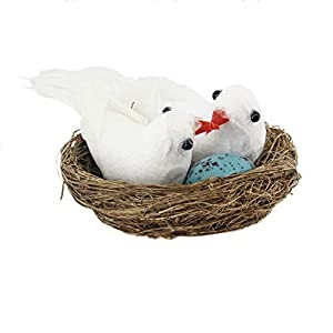 lwingflyer Foam Feather Birds Nest with Eggs Fake Doves Artificial White Pigeons Decor Bird Craft for Home Ornaments Wedding Decoration 45