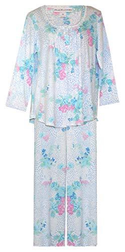 - Miss Elaine Brushstoke Floral Crop Pajamas PJ's (White with Brushstoke & Floral in Blue Aqua Pink, X-Large)