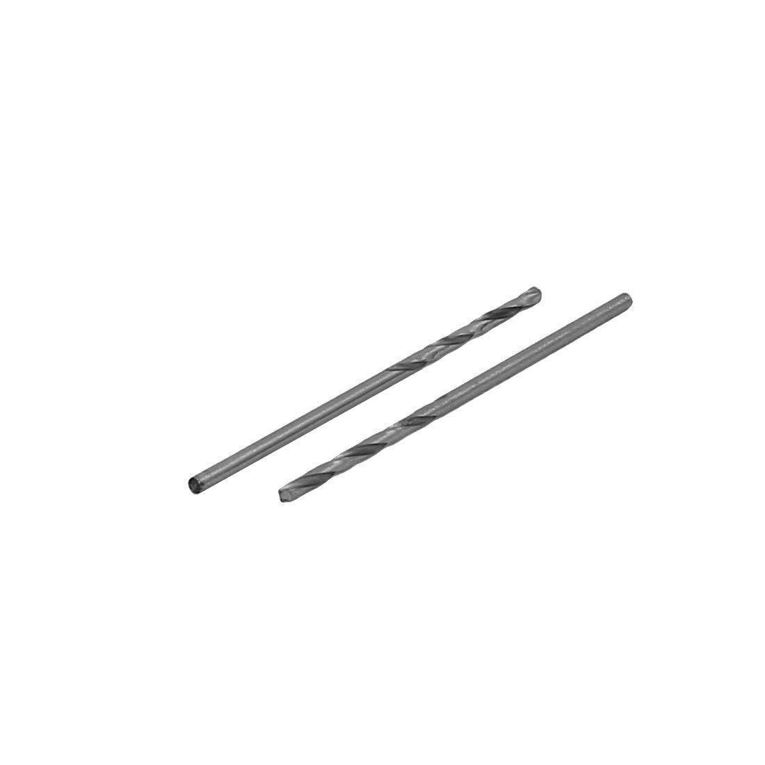 uxcell 38mm Long 1.3mm Cutting Diameter Straight Shank Twist Drill Bit Silver Tone 20pcs
