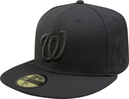 - MLB Washington Nationals Black with Black Home Logo 59FIFTY Fitted Cap, 7 3/4