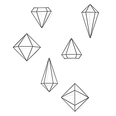 Umbra, Black Prisma (Set of 6) - Metal Art/Modern Wall Converts from Table Top to Hanging Decor - EYE-CATCHING MODERN WALL DÉCOR: Prisma Wall Décor is a set of metal wire geometric shapes that can be wall mounted, hung from the ceiling, or displayed on a table top CUSTOMIZABLE: Prisma Wall Décor comes in a set of six half-pieces that can be joined together, using the included clips, to create a set of three full geometric décor pieces. Mount the halve-pieces to a wall or place them on a table surface - hang the full shapes from your ceiling or place them on a table surface.  You can even use Prisma as an innovative air plant holder EASY TO SET UP: Every set comes complete with all necessary hardware to set-up, wall mount, or hang your Prisma Wall Décor; including joining clips, 3M adhesive strips, clear strings and ceiling hooks - living-room-decor, living-room, home-decor - 4153BEC8ynL. SS400  -