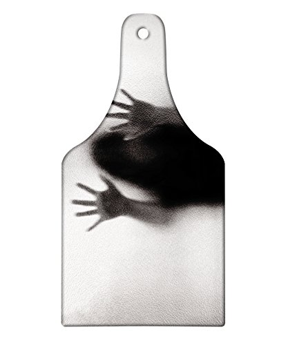 Lunarable Horror House Cutting Board, Silhouette of Woman behind the Veil Scared to Death Obscured Paranormal Photo Print, Decorative Tempered Glass Cutting and Serving Board, Wine Bottle Shape, Gray by Lunarable