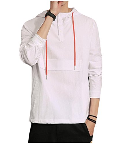 Tootless Mens Autumn Pullover Button Down Pure Color Sweatshirt Hoodies White M