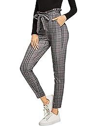 SweatyRocks - Pantalón Largo de Cintura Alta elástica para Mujer