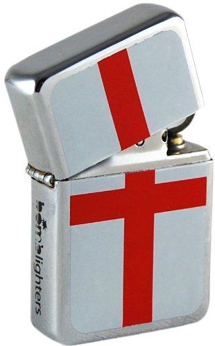 St George lighter. English flag polished chrome Windproof Lighter (George English Flag)