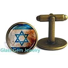 Hexagram Jewish Cufflinks Magen Cuff links Shema Hebrew and Israel Flag Jewelry Religious Jewellery for Women Gift,Q0270