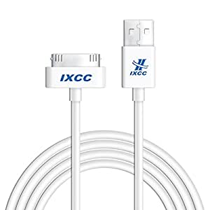 iXCC 10ft Long Apple MFi Certified 30 pin to USB Sync and Charge Cable for iPhone 4/4s, iPad 2/3, iPod 1-6 Gen - White
