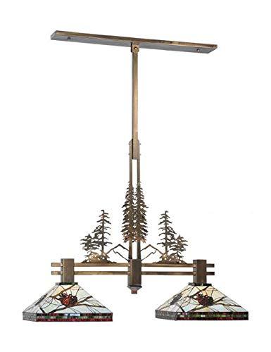 2 Pinecone Light Pendant (Meyda Tiffany 100072 Pinecone Tall Pines 2 Light Island Pendant, 40