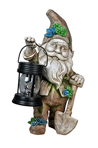 Garden Gnome with Solar Powered Lantern and Rotating Light (Gnome Lantern)