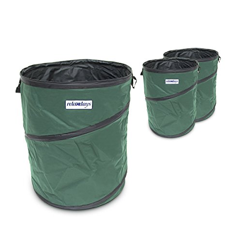 Relaxdays 10018863 Pop up Gartensack 162 L, 3-er Set, grün