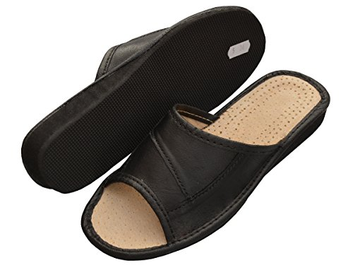 Bawal Hausschuhe Leder Damen Pantolette Gummisohle Latschen Leder Geschenkkarton (Wahlweise) Modell XA20 Schwarz+Box