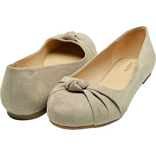 Luoika Women's Wide Width Flat Shoes - Comfortable Slip On Round Toe Ballet Flats(Beige 180303,9.5)