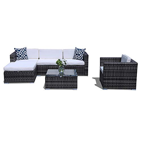(PATIORAMA Outdoor Sectional Furniture,6 Piece Patio Sectional Sofa Set with Grey Wicker White Cushions,Two Blue Throw Pillows)