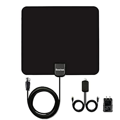 Besitek HDTV Indoor Antenna- 50 Miles Digital Long Range TV HD Antenna With Amplifier Signal Booster Upgraded Version-10ft Coax Cable