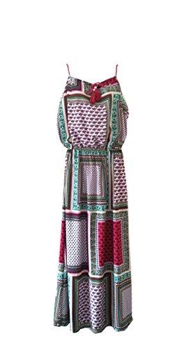 Aimerfeel patrón reticular tamaño vestido maxi del verano colorido cuadrado (40-42) Multicolor