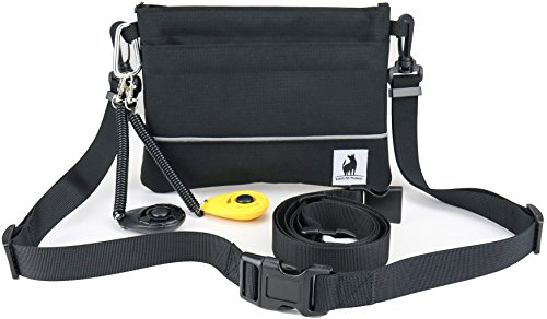 CLICKER TRAINING TREAT BAIT POUCH – STAY OPEN AND SHUT HINGE – BELT CLIP REMOVABLE WAIST STRAP – BAG INCLUDES 2 CLICKERS DOG FOR PETS PUPPY K9 CANINE HORSE BIRD CAT FERRET PROFESSIONAL OR NEW TRAINERS