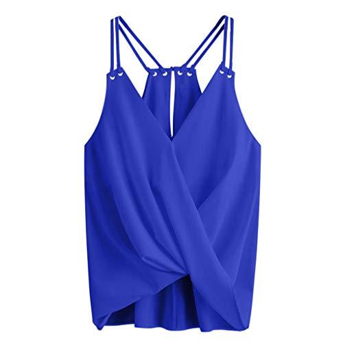 GREFER Girl Sleeveless Crop Top Vest Chiffon Cami Tank Shirt Blouse (S, B-Blue)