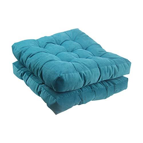Solid Papasan Patio Seat Cushion Square Chair Pad Home Floor Cushion 22 Inch Set of 2 Throw Pillows Indoor/Outdoor Blue (Pad Chair Papasan)