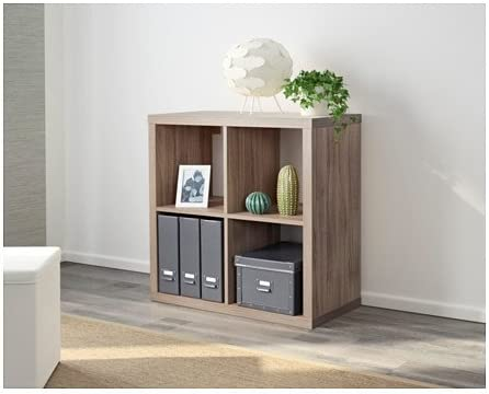 IKEA KALLAX Shelf Bookcase Unit Walnut Effect Light Gray 1 X 4 NIB 303.601.47