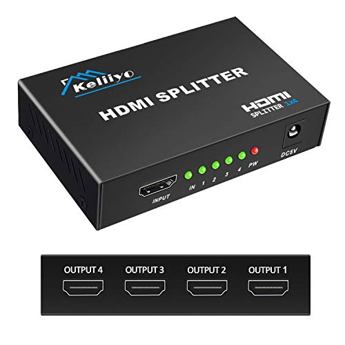 KELIIYO Hdmi Splitter 1 in 4 Out V1.4b Powered Hdmi Video Splitter with AC Adaptor Duplicate/Mirror Screen Monitor Supports Ultra HD 1080P 2K and 3D Resolutions (1 Input to 4 Outputs)