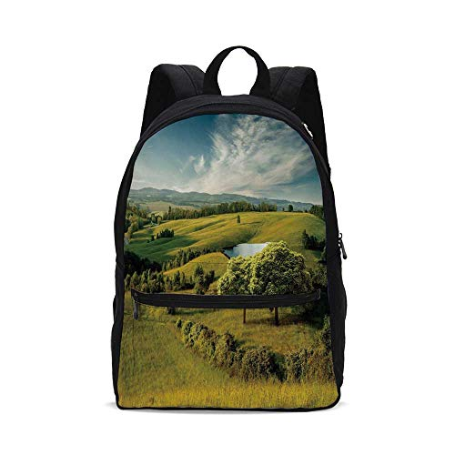 Green Fashion Canvas printed Backpack,Scenic Scenery Hilly Landscape with Lake and Blue Cloudy Sky Trees Meadow Countryside for school,One_Size