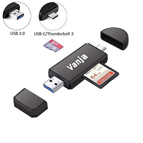 Vanja USB 3.0 SD Card Reader, USB Type C SD/Micro SD Card Reader OTG Adapter for TF, SD, Micro SD, SDXC, SDHC, MMC, RS-MMC, Micro SDXC, Micro SDHC, UHS-I for Mac, Windows, Linux, PC, Laptop