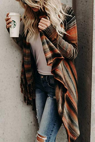Cardigan Pulls Automne Tassels Femmes Zhrui couleur Coton Brown Printemps XL Taille Manteau Brown E5ISwq