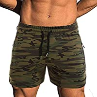 EVERWORTH Men's Solid Gym Workout Shorts Bodybuilding Running Fitted Training Jogging Short Pants with Zipper Pocket 3…