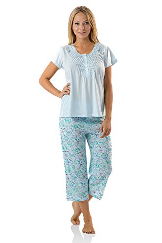 Casual Nights Women's Short Sleeve Floral Capri Pajama Set - Flower/Blue - 3X