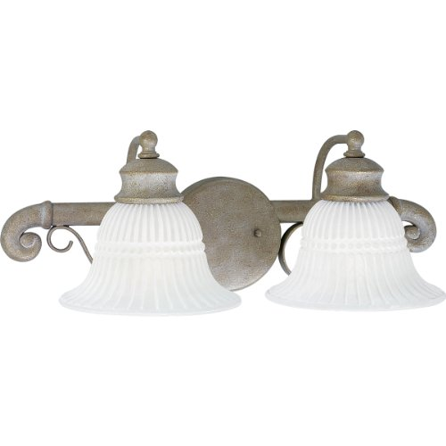 Progress Lighting P2902-40 Two-Light Bath Fixture with White Washed Alabaster Style Glass, -