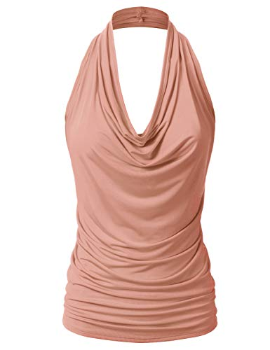- EIMIN Women's Casual Halter Neck Draped Front Sexy Backless Tank Top Peach 3XL