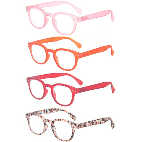 (Reading Glasses 4 Pair Spring Hinge Readers Fashion Men and Women Glasses for Reading (4 Pack Mix Color, 3.5))