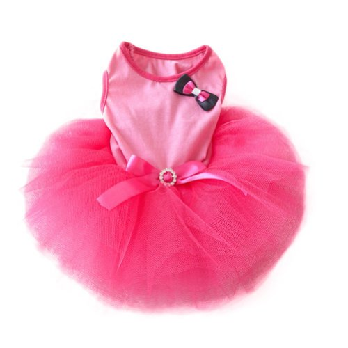 FuzzyGreen Beautiful Dog Dresses, Pet Princess Tutu Dress Pink Dress Bow Bubble Skirt Puppy Clothes Dog Dress- Size: S Small Daisy -