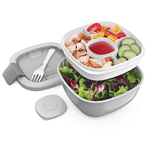 BPA-Free Lunch Container with Large 54-oz Salad Bowl, 3-Compartment Bento-Style Tray for Salad Toppings and Snacks, 3-oz Sauce Container for Dressings, and Built-In Reusable Fork ()