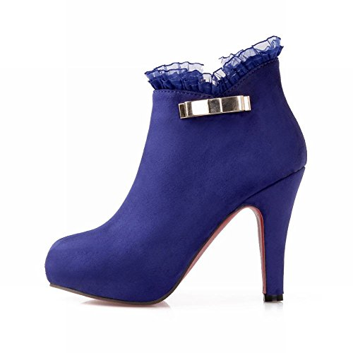 Latasa Womens Elegant Lace Side Zipper Inside Platform High-heel Ankle-high Dress Boots Suede Boots Dark Blue OeSW5FJMY