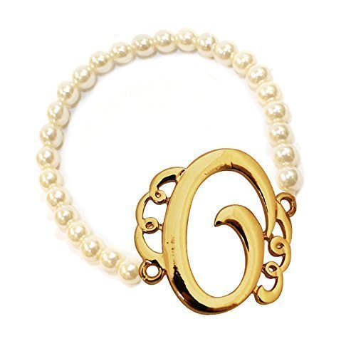 [O] Handmade Gift Initial Monogram with Pearl Stretch Bracelet - Pearl Initial Bracelet
