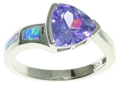 Jewelry Trends Sterling Silver Created Blue Opal and Purple CZ Ring Whole Sizes 5-10