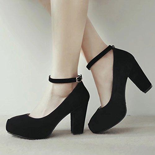 YE Damen Ankle Strap Pumps Blockabsatz High Heels Plateau mit Riemchen und 8cm Absatz Elegant Schuhe Schwarz