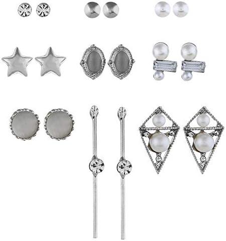 Hengrain - Pendientes de Tuerca de Plata pentagonal con Perlas turquesas, 9 Pares de Pendientes Bohemios creativos